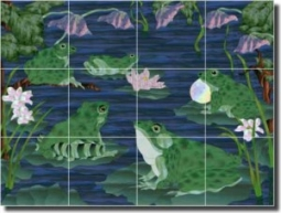 "WaterLife - Frogs by Paned Expressions Studios - Ceramic Tile Mural 18"" x 24"" Kitchen Shower Backspl"