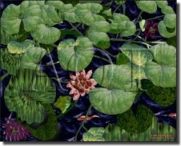 "WaterLife - Lily Pond by Paned Expressions Studios - Ceramic Tile Mural 18"" x 24"" Kitchen Shower Bac"