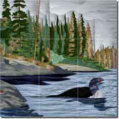 "WaterLife - Loon Lake by Paned Expressions Studios - Bird Ceramic Tile Mural 18"" x 18"""