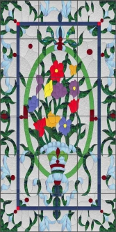 Victorian Floral by Paned Expressions Ceramic Tile Mural OB-PES16