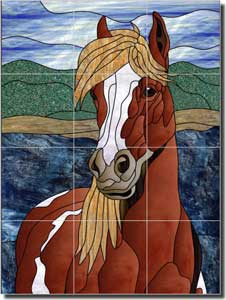 "Paned Expressions Horse Equine Floor Tile Mural 24"" x 32"" - OB-PES19"
