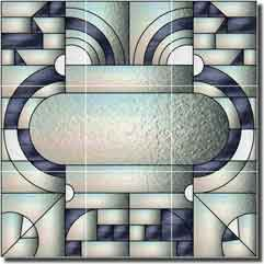 Paned expressions art deco ceramic tile mural 18 x 18 for Art deco tile mural
