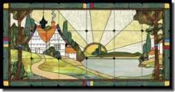 "Paned Expressions Home Landscape Tumbled Marble Tile Mural 36"" x 18"" - OB-PES30"