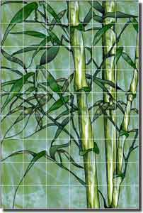 Paned Expressions Bamboo Ceramic Tile Mural 25.5