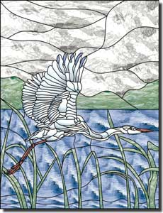 "Paned Expressions Egret Bird Ceramic Accent Tile 6"" x 8"" - OB-PES37AT"