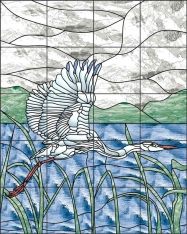 Egret by Paned Expressions Ceramic Tile Mural OB-PES37