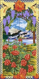 La Farge Floral by Paned Expressions Ceramic Tile Mural OB-PES49