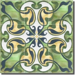 "Nouveau - Leaves and Branches by Paned Expressions Studios - Floral Ceramic Tile Mural 18"" x 18"" Kit"