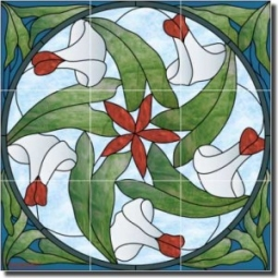 "Nouveau - Morning Glory by Paned Expressions Studios - Floral Ceramic Tile Mural 18"" x 18"" Kitchen S"