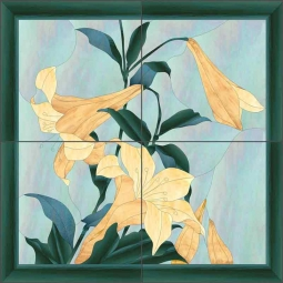 Oriental Lilies by Paned Expressions Ceramic Tile Mural OB-PES69