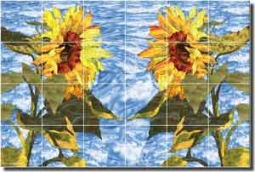 "Paned Expressions Sunflowers Floral Ceramic Tile Mural 25.5"" x 17"" - OB-PES76"