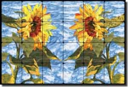 "Paned Expressions Sunflowers Floral Tumbled Marble Tile Mural 24"" x 16"" - OB-PES76"