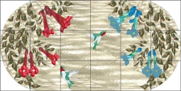 Trumpet Vines by Paned Expressions Ceramic Tile Mural OB-PES89