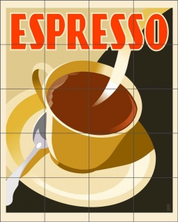 Deco Espresso by Richard Weiss Ceramic Tile Mural - OB-RW17