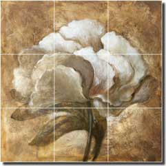 "Rich Peony Floral Ceramic Tile Mural 18"" x 18"" - OB-WR1236"