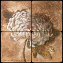 Ochre Mum by Wilder Rich Tumbled Marble Tile Mural - OB-WR1237