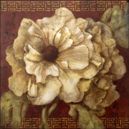Rich Poppy Asian Floral Ceramic Accent & Decor Tile - OB-WR1319AT