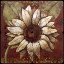 China Doll Daisy by Wilder Rich Tumbled Marble Tile Mural OB-WR1320