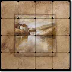 "Millpond I by Wilder Rich - Tuscan Tumbled Marble Tile Mural 24"" x 24"""