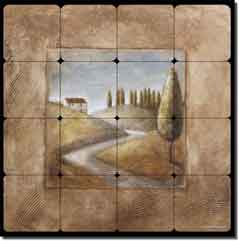 "Rich Tuscan Landscape Tumbled Marble Tile Mural 24"" x 24"""