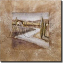"Country House I by Wilder Rich - Tuscan Landscape Tumbled Marble Tile Mural 24"" x 24"" Kitchen Shower"