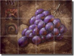"Purple Grapes by Wilder Rich - Fruit Ceramic Tile Mural 18"" x 24"" Kitchen Shower Backsplash"