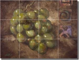 "Rich Grapes Fruit Ceramic Tile Mural 24"" x 18"" - OB-WR688a"