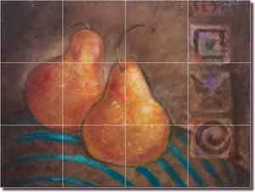 "Rich Fruit Pear Ceramic Tile Mural 24"" x 18"" - OB-WR689b"
