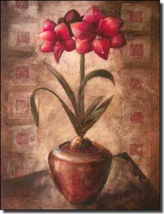 "Rich Amarylis Floral Ceramic Accent 6"" x 8"" - OB-WR698AT"
