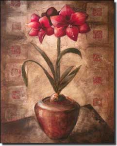 "Rich Amarylis Floral Ceramic Accent 8"" x 10"" - OB-WR698AT"