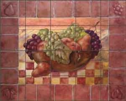 "Rich Fruit Kitchen Ceramic Tile Mural 21.25"" x 17"" - OB-WR718"
