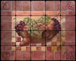 "Rich Fruit Kitchen Tumbled MarbleTile Mural 20"" x 16"" - OB-WR718"