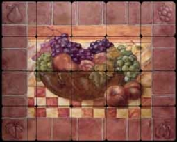 "Rich Fruit Kitchen Tumbled Marble Tile Mural 20"" x 16"" - OB-WR719"