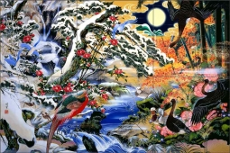Birds and Flowers by Zigen Tanabe Ceramic Tile Mural OB-ZT03