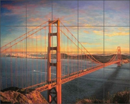 Golden Gate Bridge by Olga Kuczer Ceramic Tile Mural OKA002