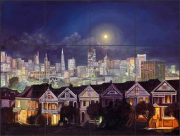 Alamo Square at Night in San Francisco by Olga Kuczer Ceramic Tile Mural OKA003