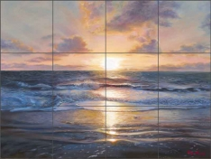 Meditating Sunset by Olga Kuczer Ceramic Tile Mural OKA007