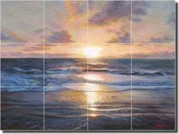 "Kuczer Seascape Sunset Glass Tile Mural 24"" x 18"" - OKA007"