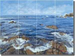 "Kuczer Coastal Seascape Glass Tile Mural 24"" x 18"" - OKA009"