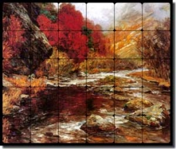 "Wisinger-Florian River Landscape Tumbled Marble Tile Mural 24"" x 20"" - OWF001"