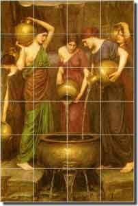 "Waterhouse Danaides Old World Ceramic Tile Mural 24"" x 36"" - OWI009"