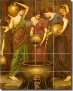 "Waterhouse Danaides Old World Ceramic Tile Mural 24"" x 30"" - OWI009"