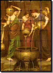 "Waterhouse Danaides Old World Tumbled Marble Tile Mural 20"" x 28"" - OWI009"