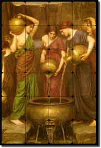 "Waterhouse Danaides Old World Tumbled Marble Tile Mural 24"" x 36"" - OWI009"