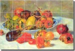 "Renoir Fruit Kitchen Ceramic Tile Mural 25.5"" x 17"" - PAR001"