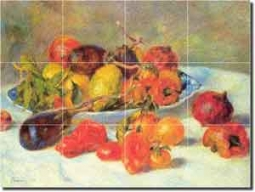 "Renoir Fruit Kitchen Glass Tile Mural 24"" x 18"" - PAR001"