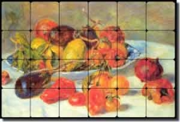 "Renoir Fruit Kitchen Tumbled Marble Tile Mural 24"" x 16"" - PAR001"