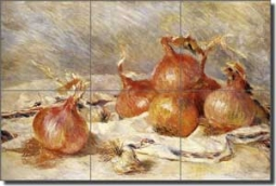 "Renoir Onions Vegetable Ceramic Tile Mural 18"" x 12"" - PAR002"