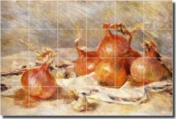 "Renoir Onions Vegetable Ceramic Tile Mural 25.5"" x 17"" - PAR002"
