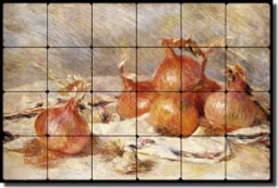 "Renoir Onions Vegetable Tumbled Marble Tile Mural 24"" x 16"" - PAR002"
